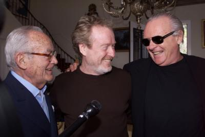 BEVERLY HILLS, CALIFORNIA - Actor Anthony Hopkins (R) poses with film producer Dino DeLaurentiis (L) and director Ridley Scott, prior to a luncheon honoring Italian Academy Award nominees at DeLaurentiis' mansion in Beverly Hills, March 24. Hopkins is starring in the upcoming film 'Hannibal,' which DeLaurentiis is producing and Scott is directing. The Academy Awards will be presented March 26 in Los Angeles. Photo by Rose Prouser (Reuters)
