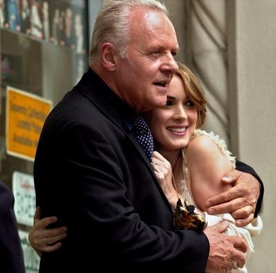 Sir Anthony Hopkins, left, shares a hug with actress Winona Ryder Friday. Oct. 6, 2000, in Los Angeles. Hopkins was among the speakers to participate in the unveiling of Ryder's star on the Hollywood Walk of Fame. Ryder has starred in Little Women, Heathers, The Age of Innocence, The Crucible, Edward Scissorhands, Bram Stoker's Dracula, Girl Interrupted, and Autumn in New York. She received the 2165th star. Photo by Kim D. Johnson (AP)