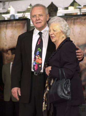 British actor Anthony Hopkins poses with his mother, Muriel Hopkins, after he got his hands and feet in cement at the Mann's Chinese Theater in the Hollywood section of Los Angeles, Thursday, Jan. 11, 2001. Photo by Chris Pizzello (AP)